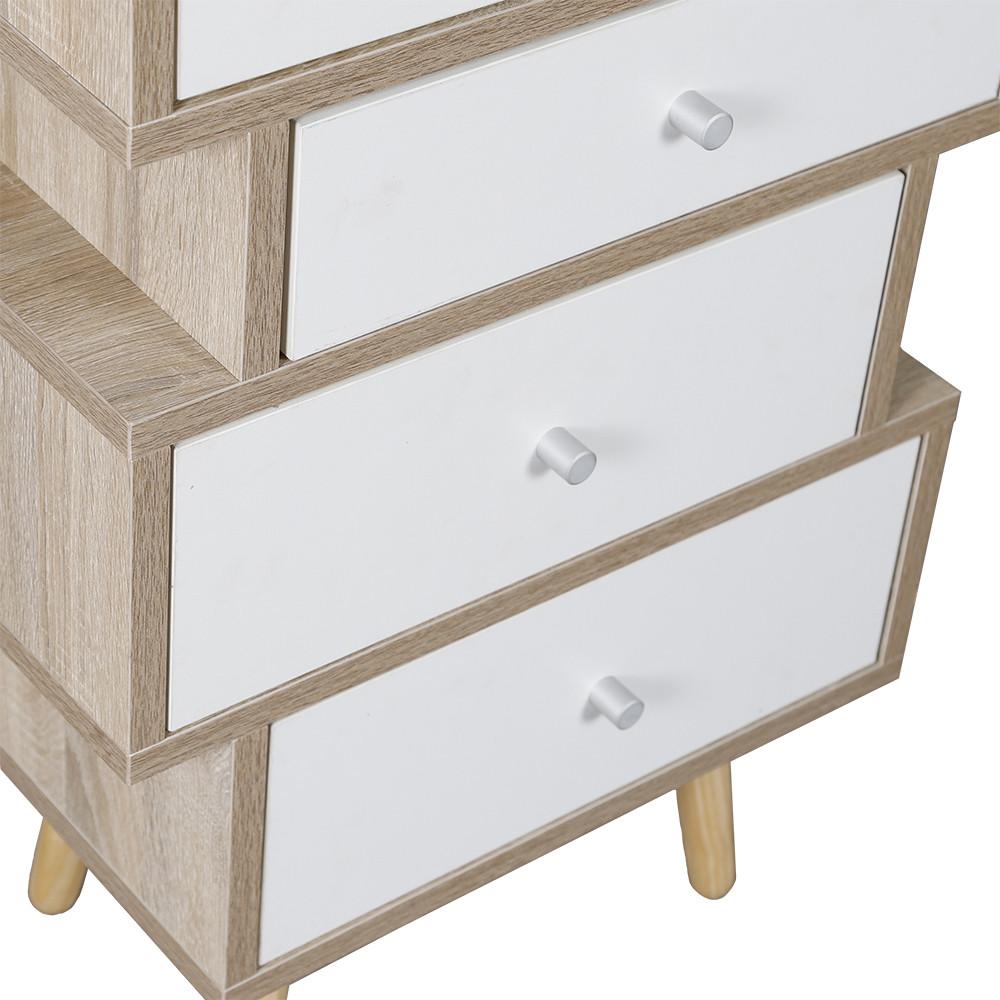 صور طاولة جانبية موديل فور خشب بأربعة أدراج تخزين لون أبيض وخشبي عصرية