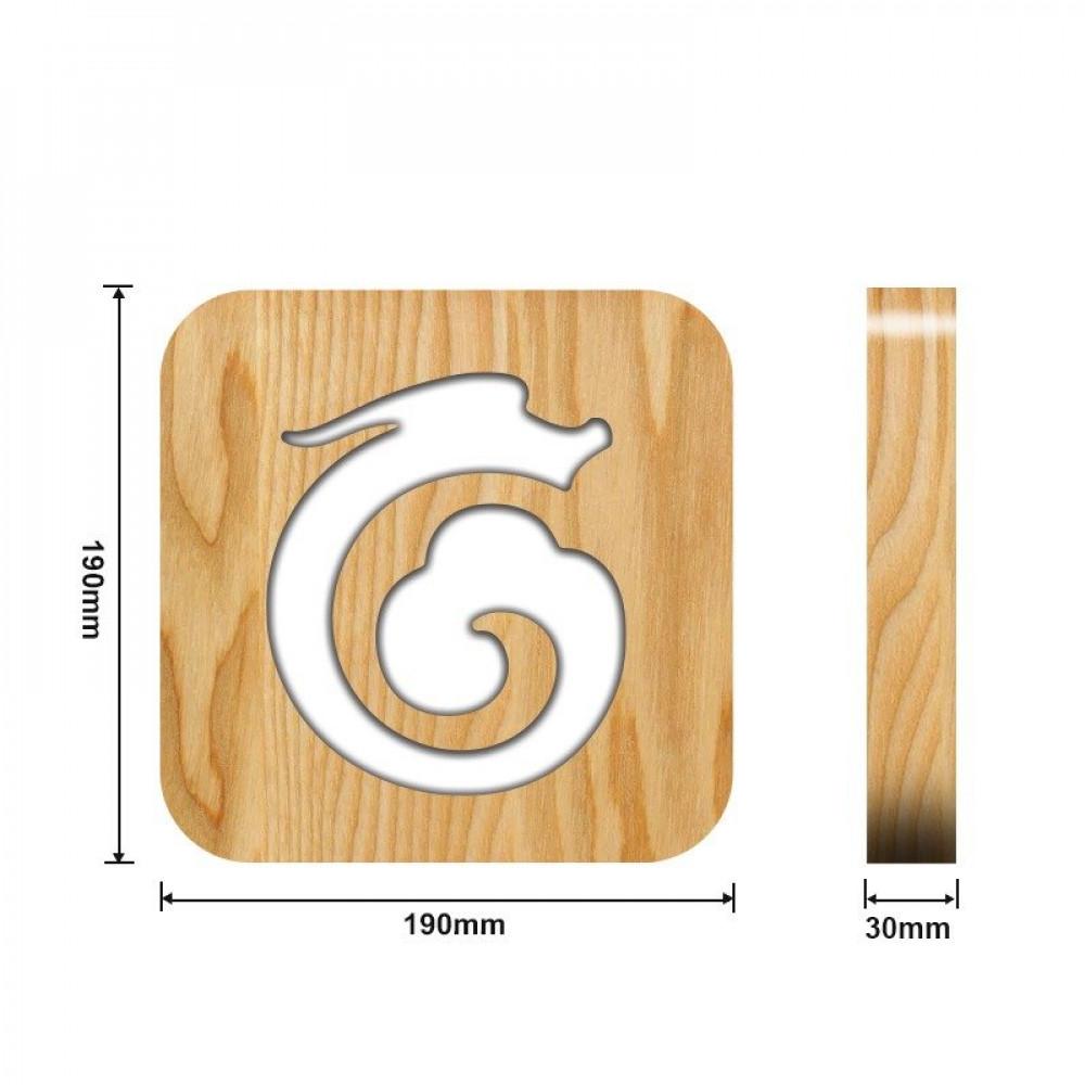 تحفة خشبية مضيئة على شكل تنين من متجر مواسم القياسات التفصيلية للتحفة