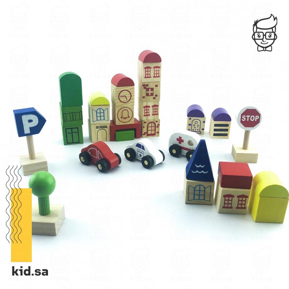 لعبة المدينة الخشبية و الاشكال الجميلة للاطفال