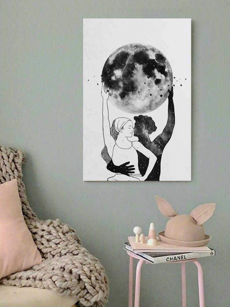 لوحة القمر خشب ام دي اف مقاس 40x60 سنتيمتر