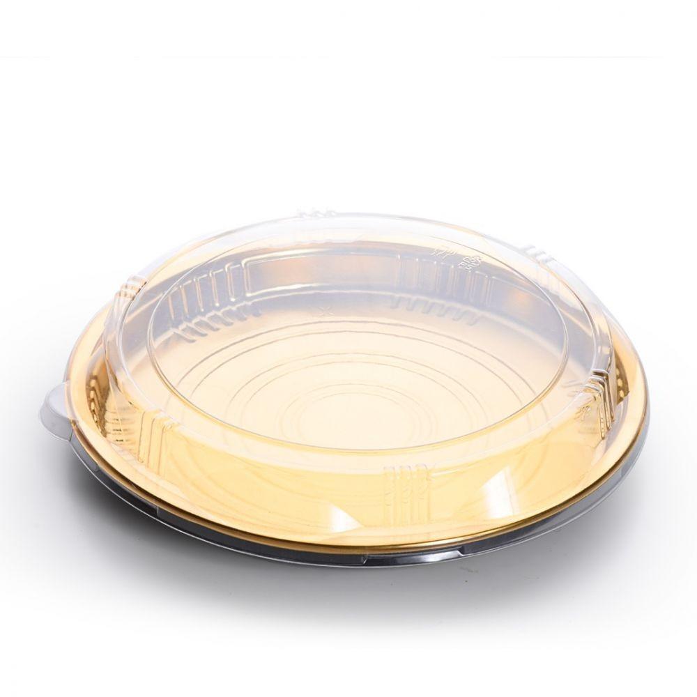 صحن ذهبي دائري مع غطاء شفاف مقاس 25 15 حبة