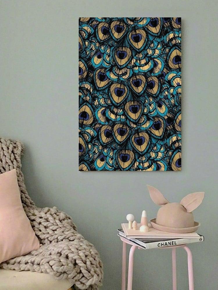 لوحة طاووس خشب ام دي اف مقاس 40x60 سنتيمتر