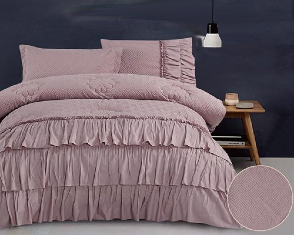 مفرش سرير نفر ونص بكشكش لونه موف