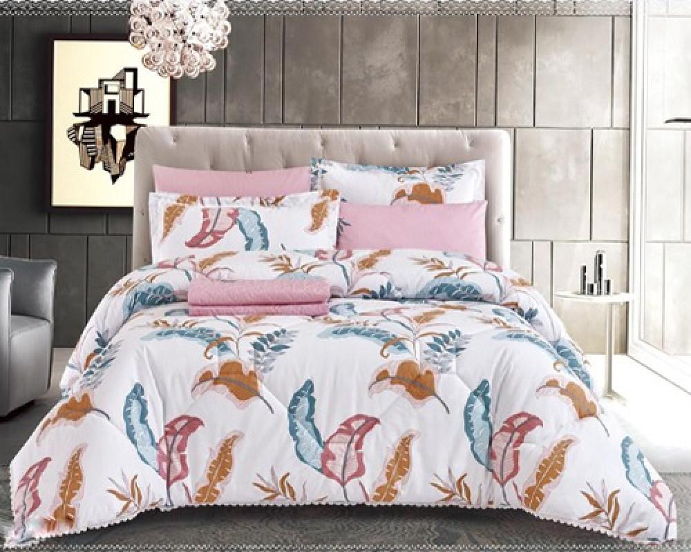 مفرش سرير نفرين صيفي مشجر لونه ابيض