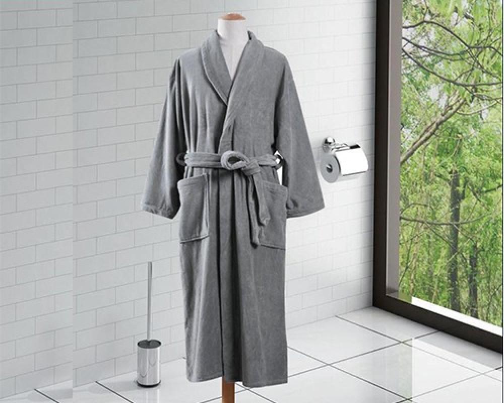 روب استحمام ساده لونه رمادي