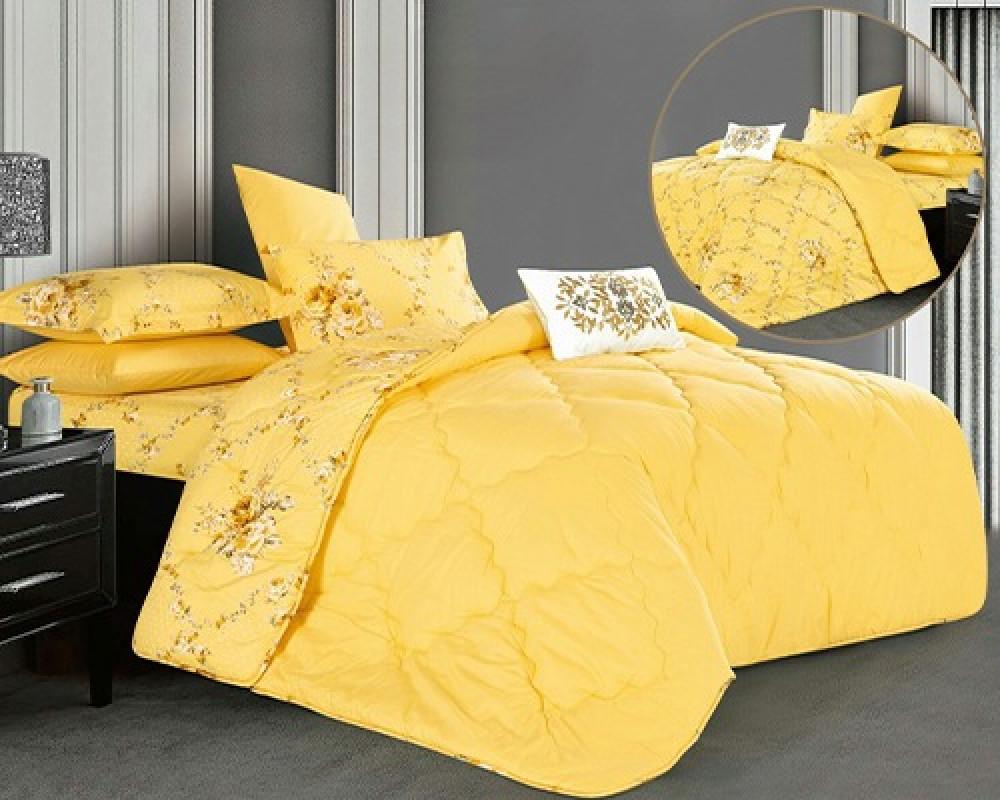 مفرش سرير نفر ونص بوجهين لونه اصفر