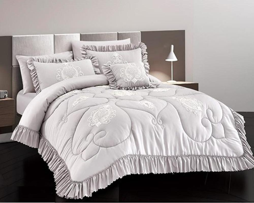 مفرش سرير نفرين بكشكشه لونه رمادي