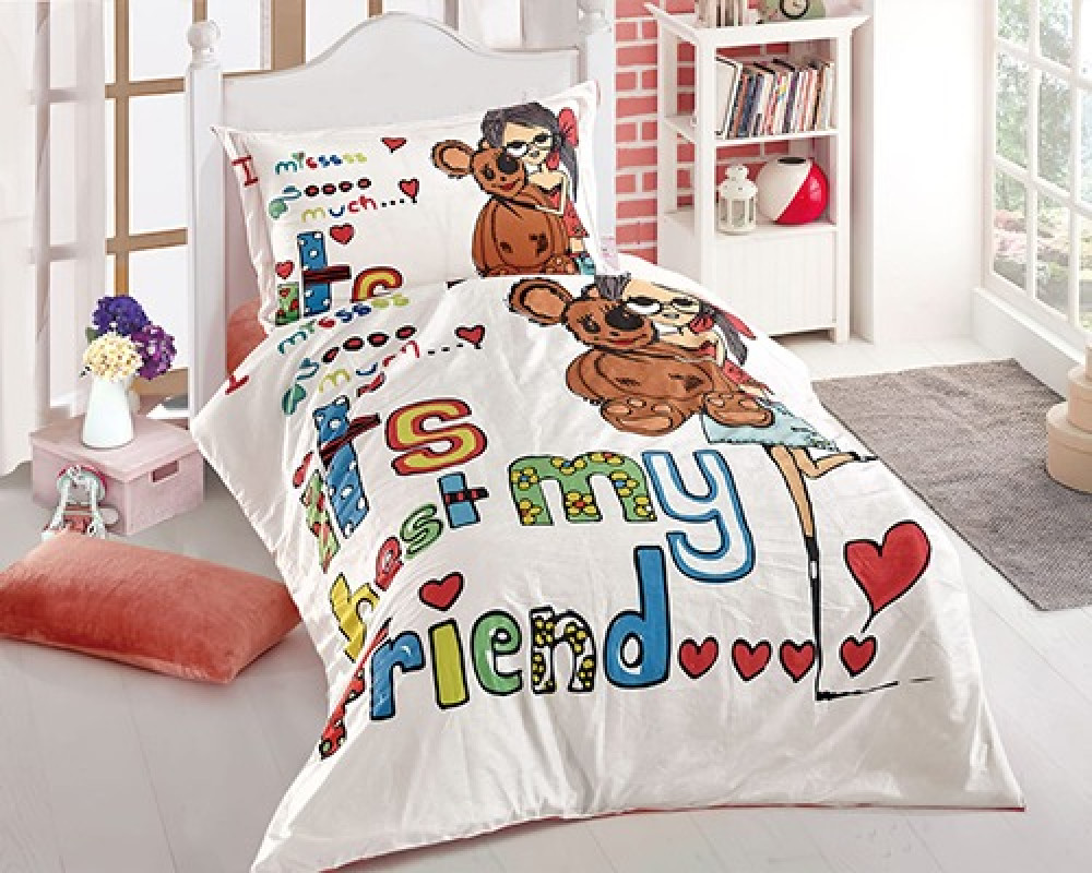 مفرش سرير اطفال نفر ونص بناتي لونه ابيض