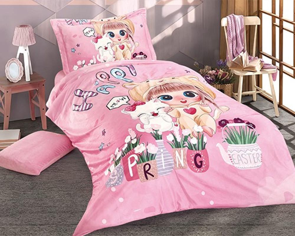 مفرش سرير اطفال نفر ونص بناتي لونه وردي