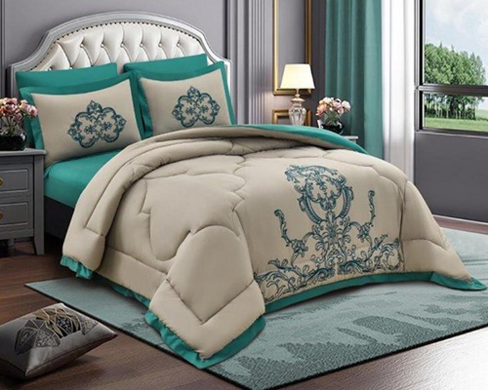 مفرش سرير مطرز نفرين صيفي لونه اخضر