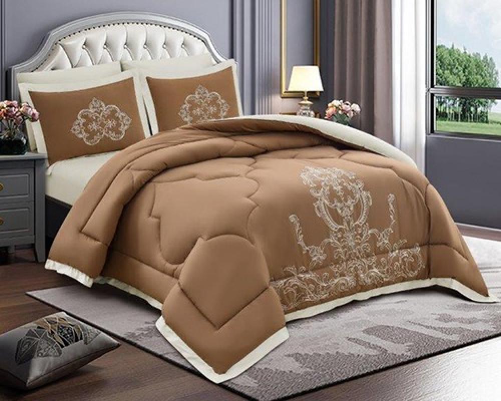 مفرش سرير مطرز نفرين صيفي لونه بني