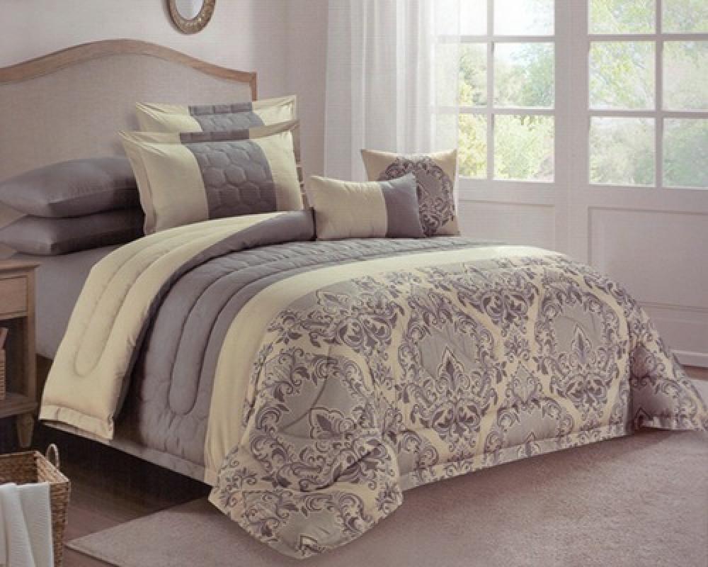 مفرش سرير نفرين مطرز مشجر لونه رمادي غامق