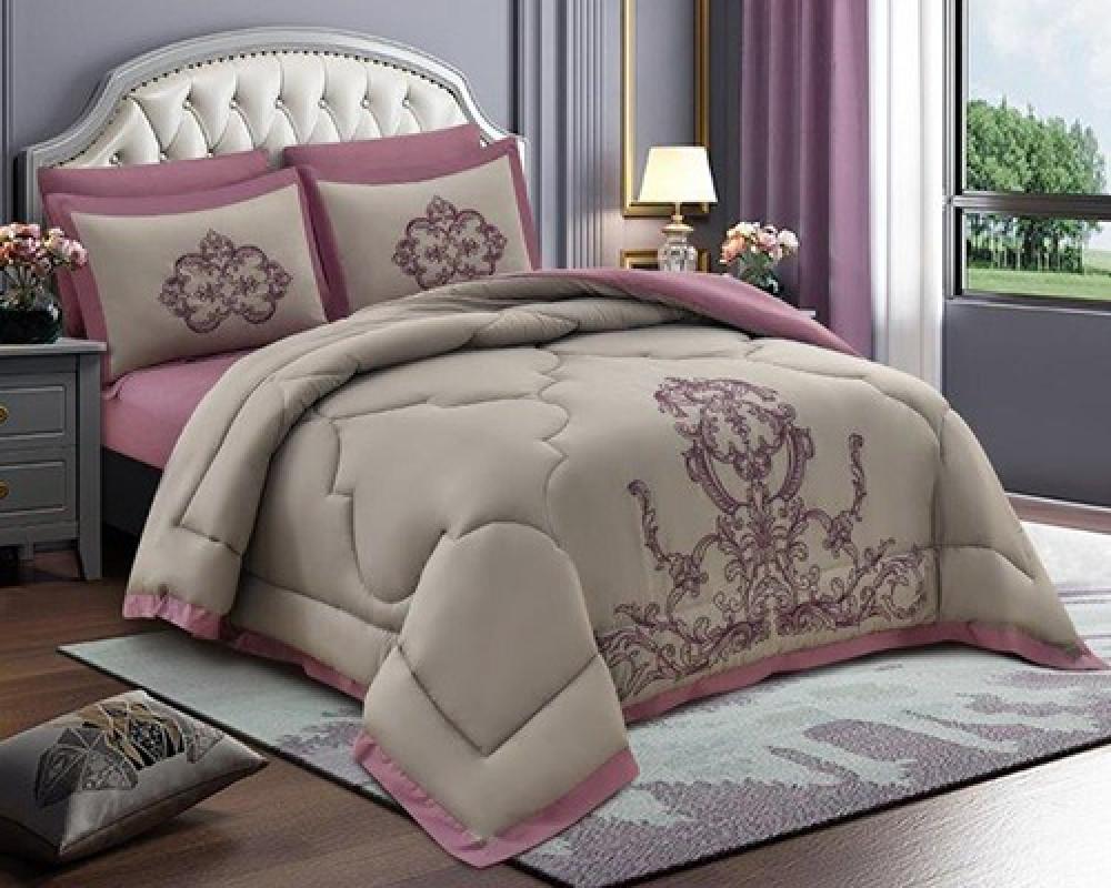 مفرش سرير مطرز نفرين صيفي لونه وردي