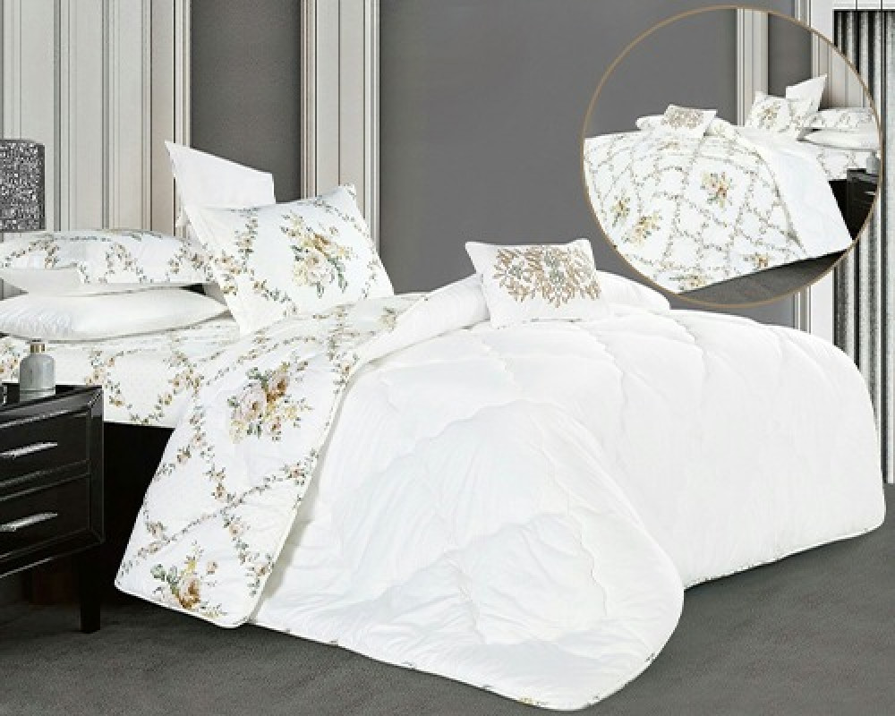 مفرش سرير نفر ونص بوجهين لونه ابيض