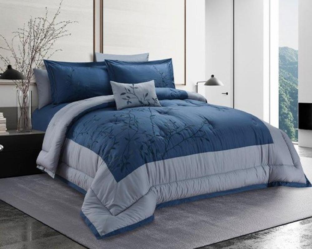 مفرش سرير نفرين مطرز و فخم لونه ازرق