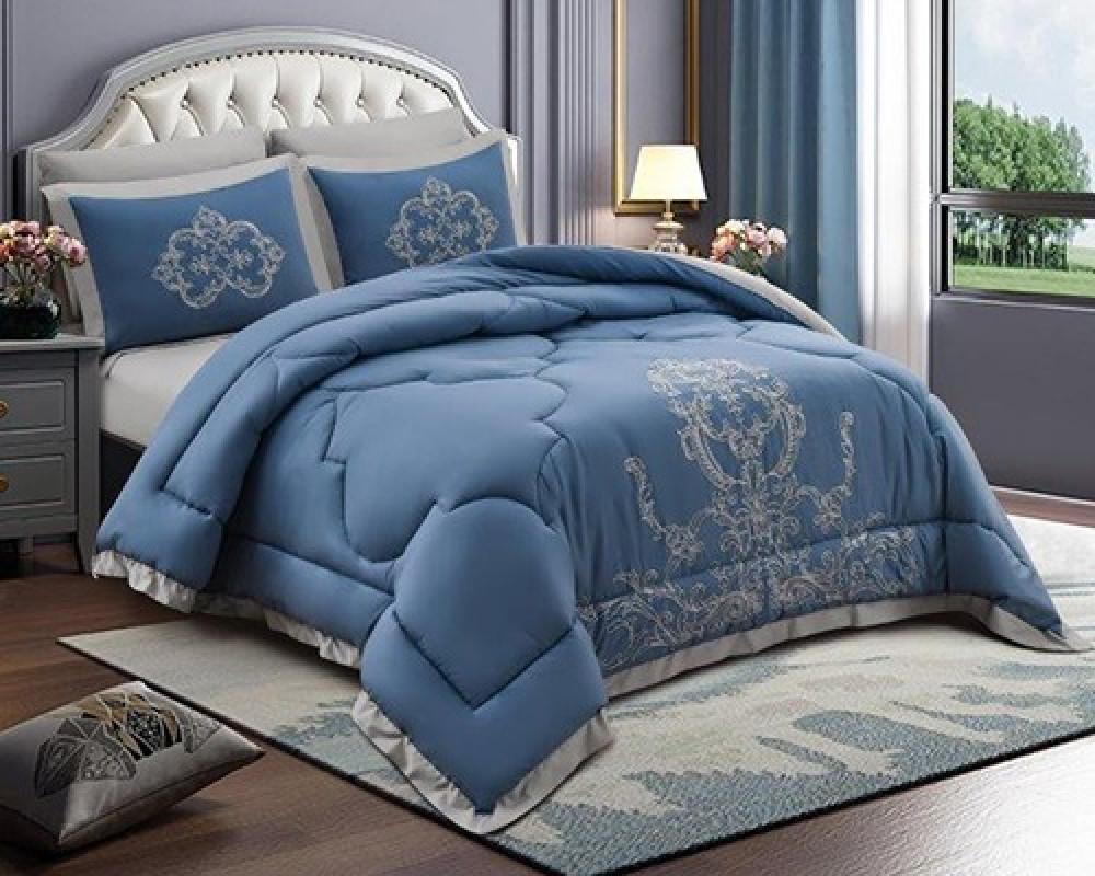 مفرش سرير مطرز نفرين صيفي لونه ازرق