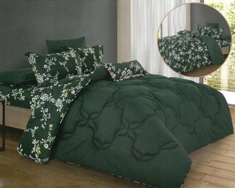 مفرش سرير مشجر نفرين لونه اخضر