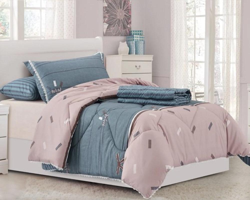 مفرش سرير نفر ونص مشجر لونه موف