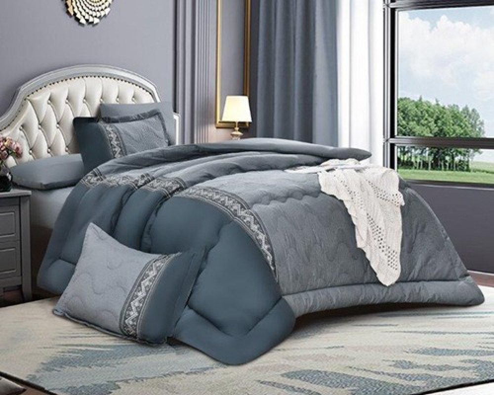 مفرش سرير مطرز نفرين صيفي لونه كحلي