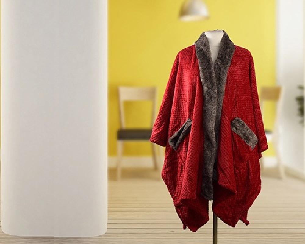 شال نسائي من الفرو لونه احمر