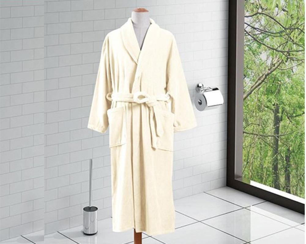 روب استحمام ساده لون بيج - XL