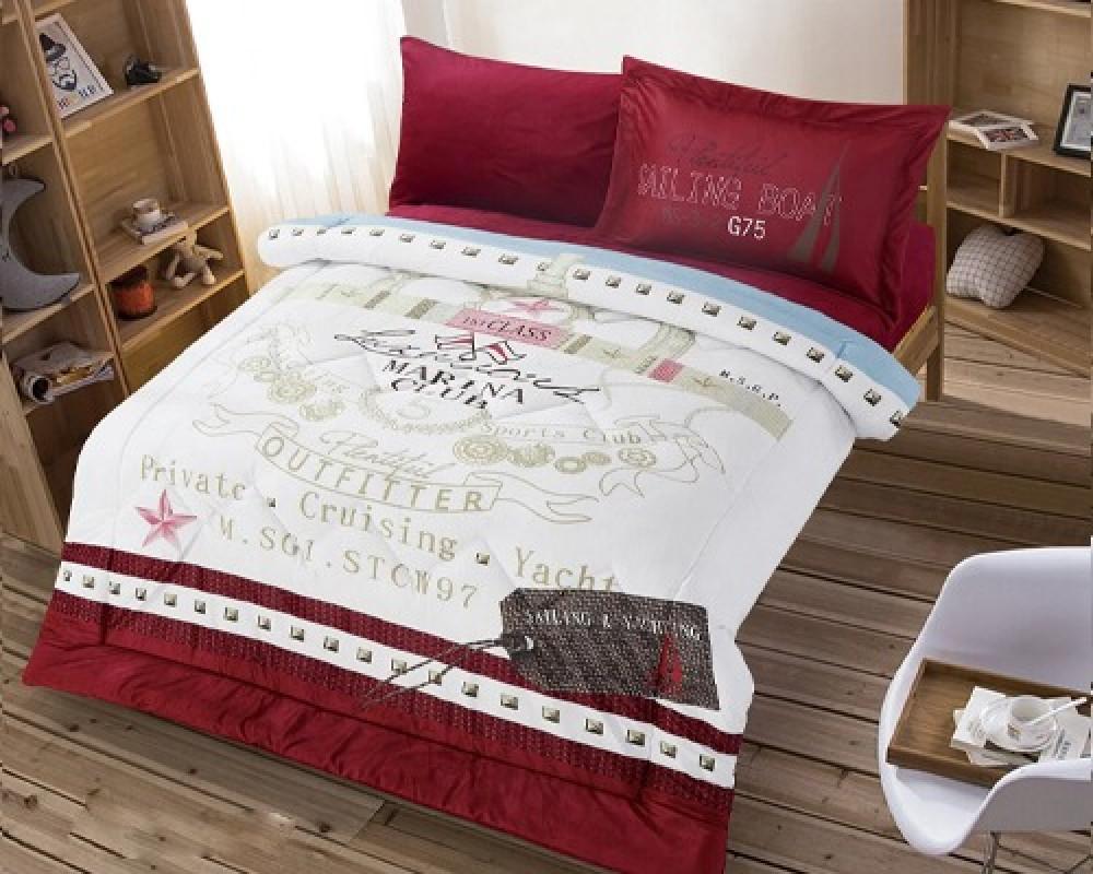مفرش سرير نفر ونص مخمل مشجر للاطفال لونه احمر