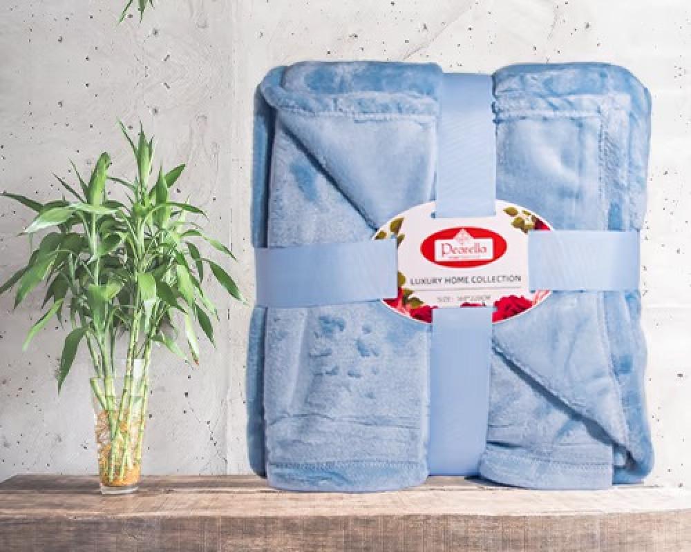 بطانية بيرلا خفيفة نفر ونص -أزرق سماوي  متجر بازار هوم