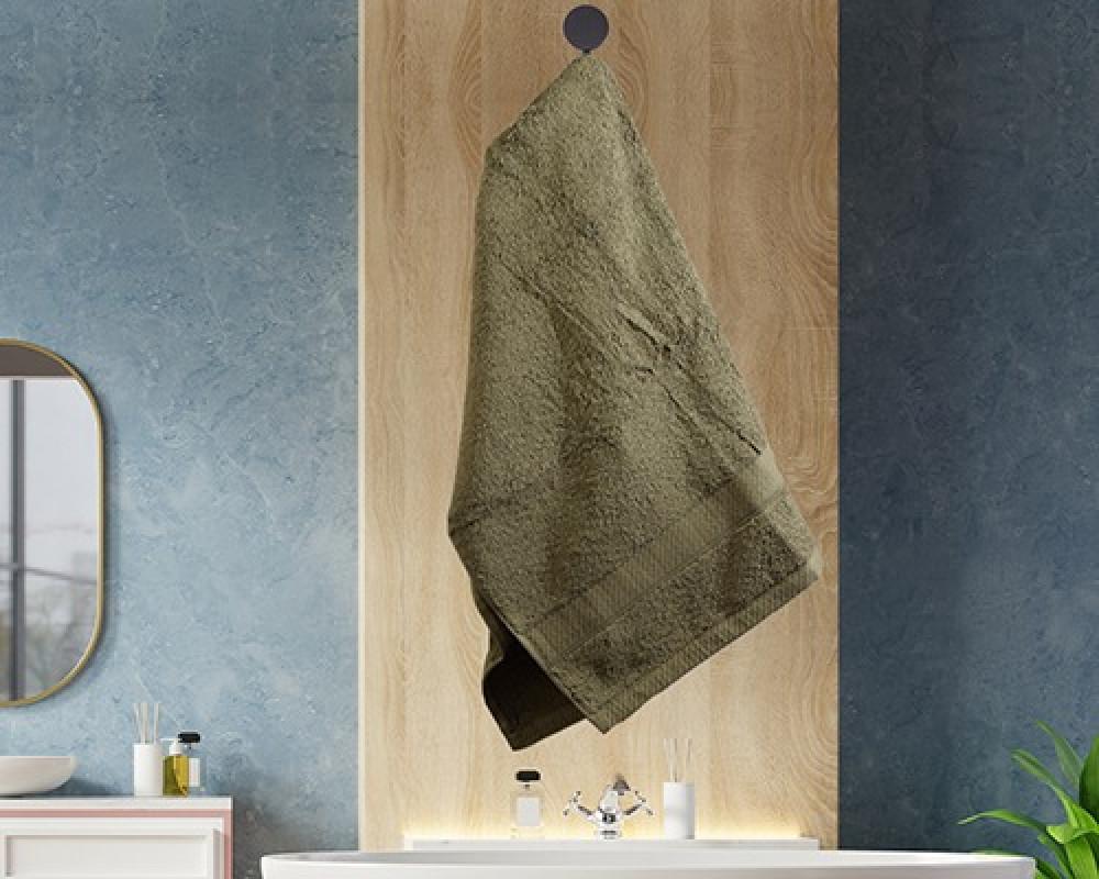 منشفة ضيوف لونها اخضر زيتي تستخدم للوجه او اليدين