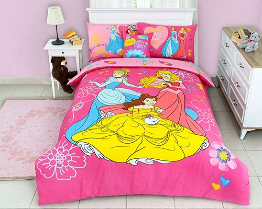 مفرش سرير نفر ونص للاطفال بناتي لونه وردي بروسم اميرات ديزني