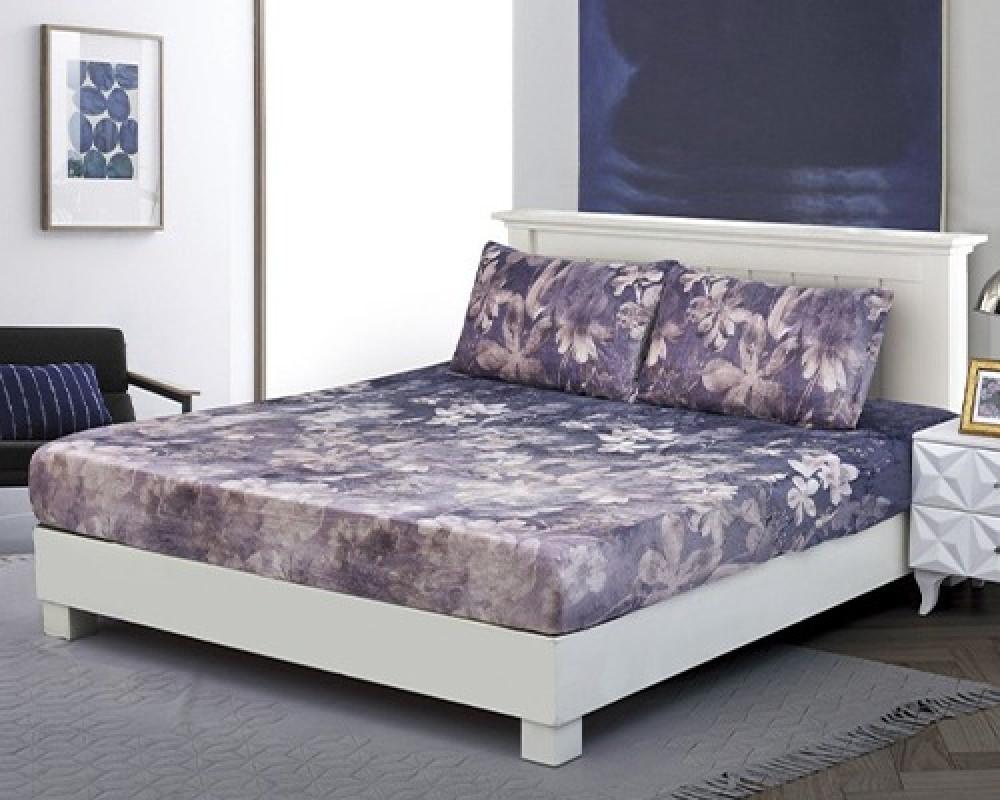 شرشف سرير  نفر ونص مخمل لونه ازرق