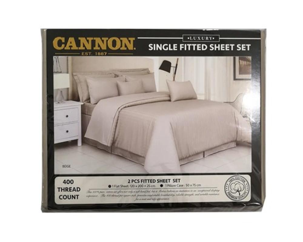 طقم شرشف سرير مقلم نفر ونص لونه بيج