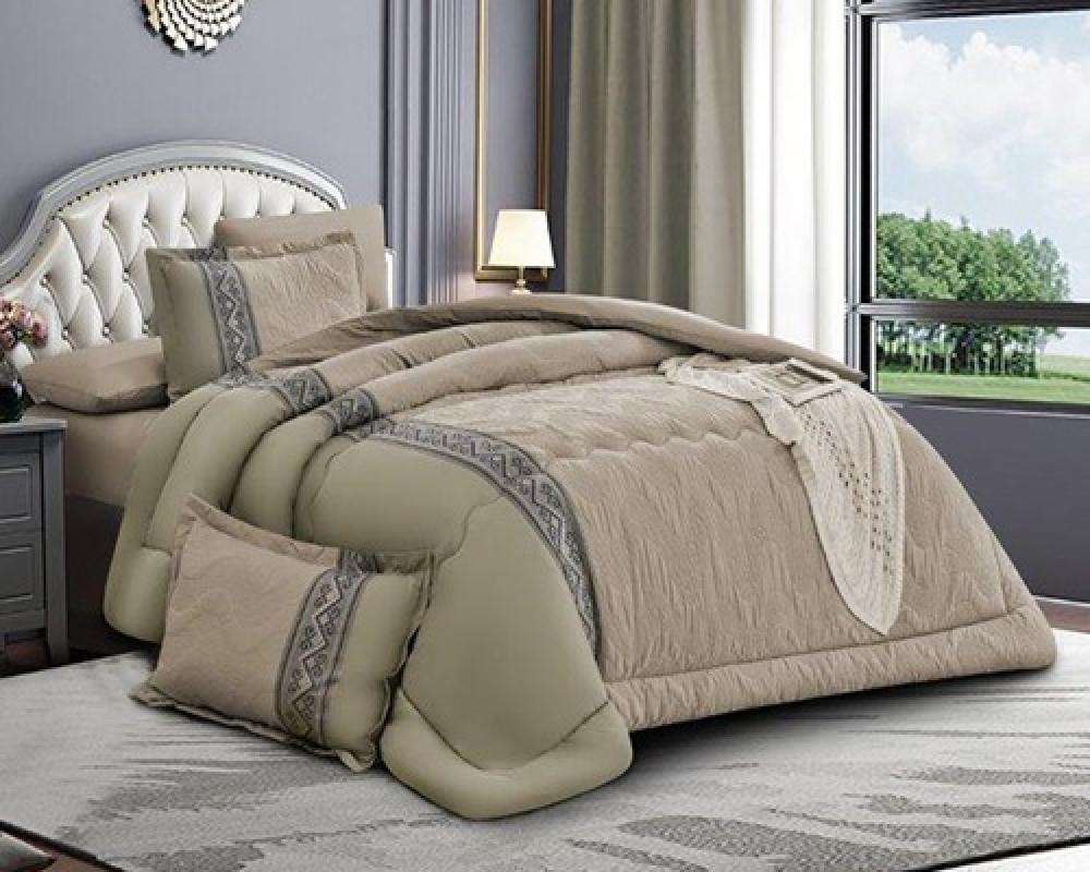 مفرش سرير مطرز نفرين صيفي لونه اخضر زيتي