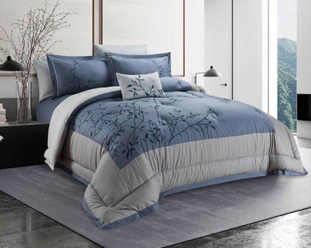 مفرش سرير نفرين مطرز و فخم لونه ازرق رمادي