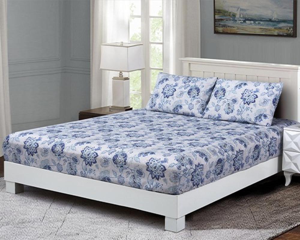 شرشف سرير نفرين مشجر لونه ازرق