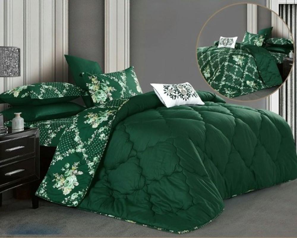 مفرش سرير نفر ونص وجهين لونه اخضر
