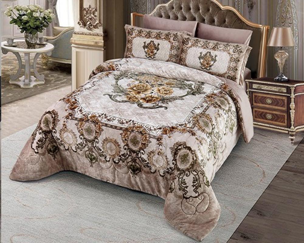 مفرش سرير نفر ونص مخمل مشجر لونه بيج