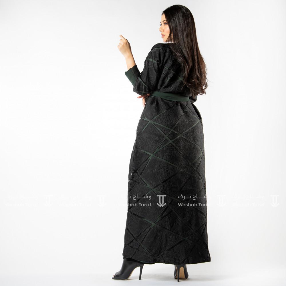 عباية قماش أورجانزا مع قماش حرير مغسول بالداخل لون زيتي  لبس على جهتين