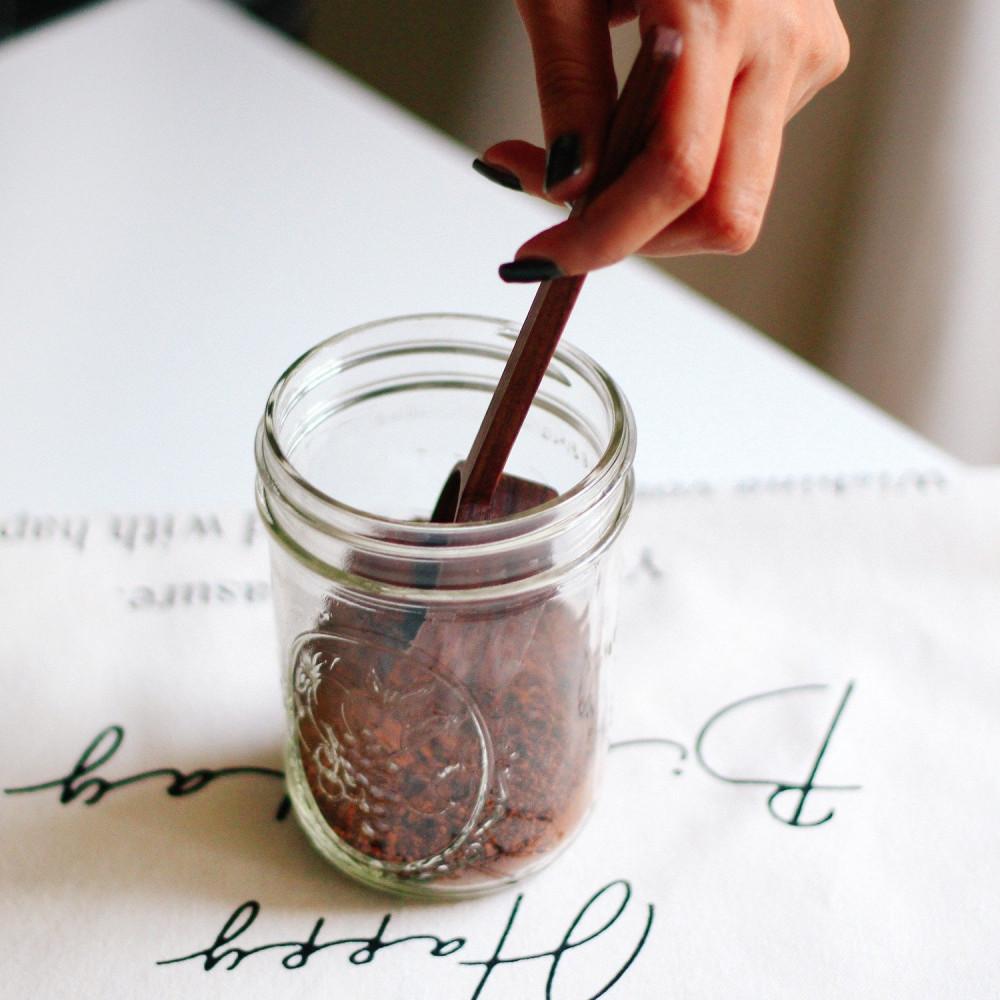 ملعقة خشبية خشب الجوز متجر القهوة ملعقة معيارية للقهوة ركن القهوة متجر