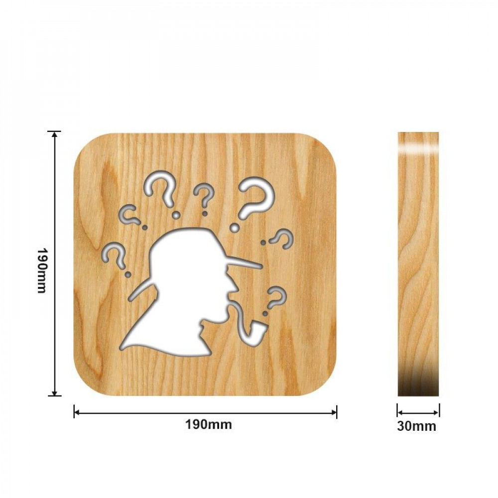 مواسم تحفة شكل استفهام مضيئة خشبية القياسات التفصيلية للقاعدة والتحفة