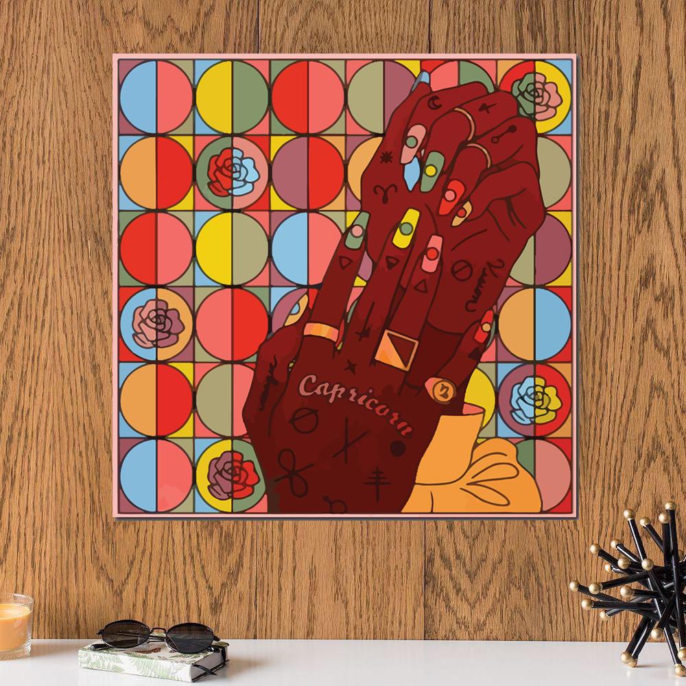لوحة برج الجدي خشب ام دي اف مقاس 30x30 سنتيمتر