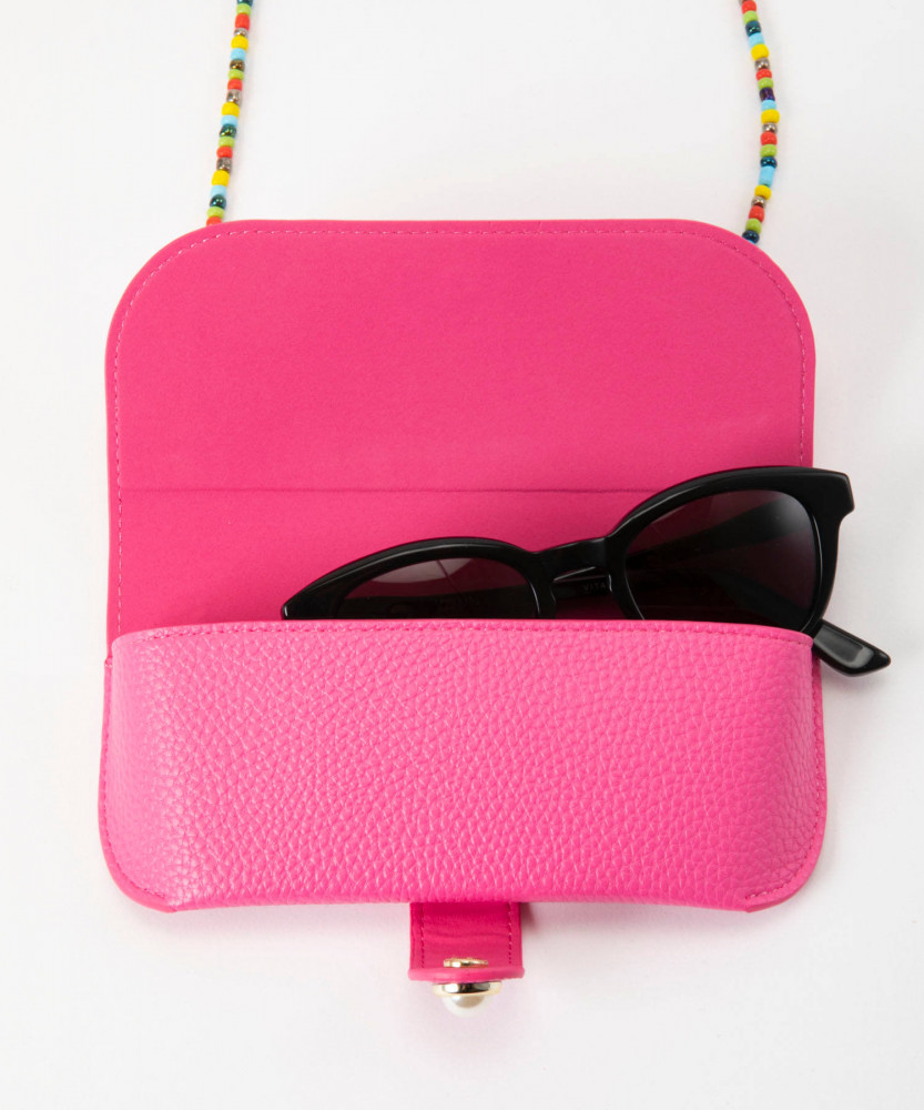 Iphoria Glasses Case Classic Pink with Colorful Glass Pearls