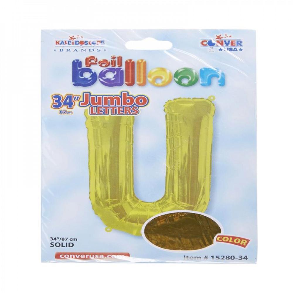 بالون ذهبي, بالون حرف U, بلونات أحرف, Golden Balloon