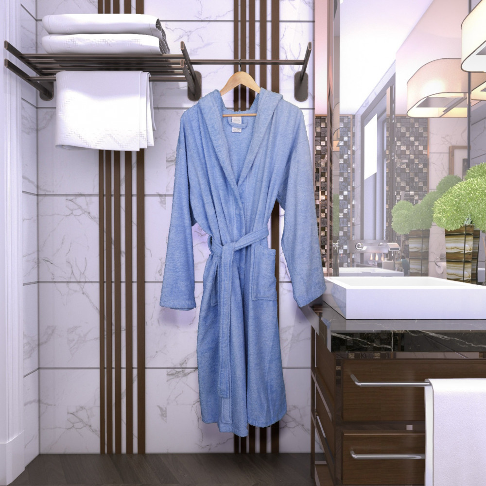 روب قطن  فندقي فاخر بقبعة لون أزرق - متجر مفارش ميلين