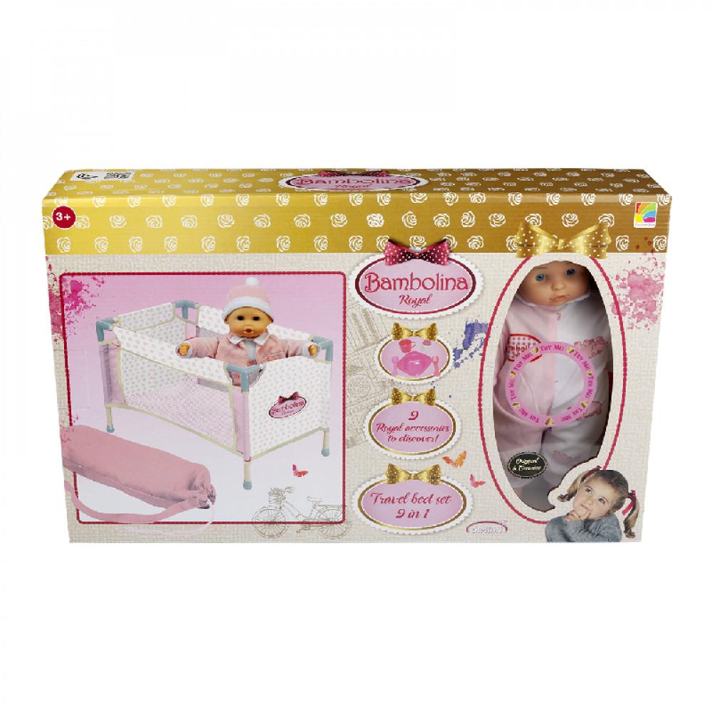 عروسة بامبولينا رويال مع طقم سرير سفر, Bambolina, Toys