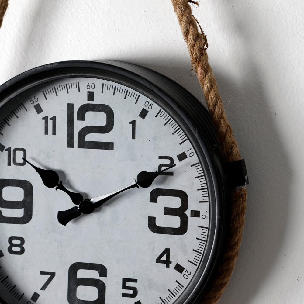 ساعة حائط أنتيكة قديمة فخمة بحبل موديل روبي 1 دائرية معدنية تصميم مميز