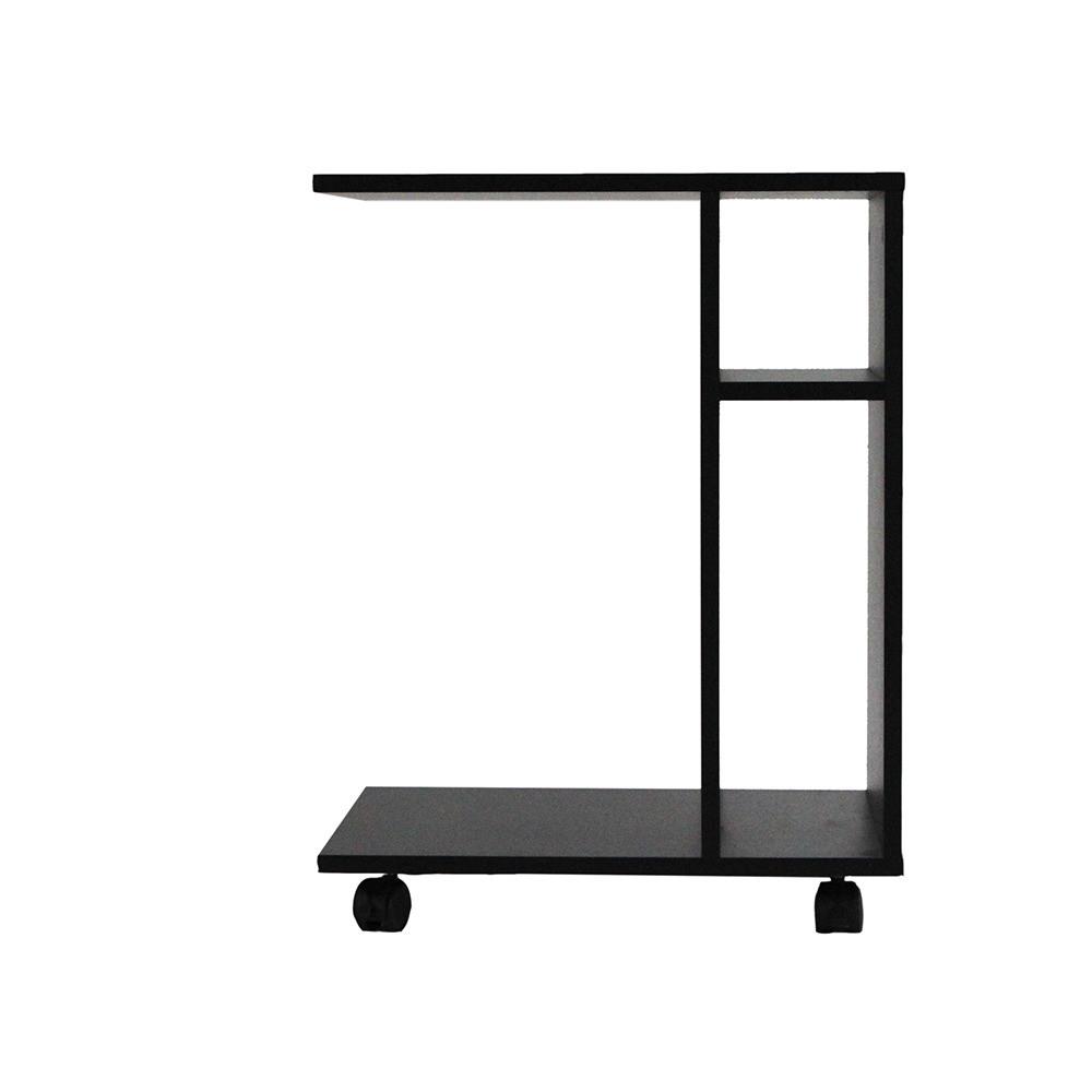 صورة أقرب طاولة جانبية متحركة موديل ديبارو خشب أسود مع2 وحدة تخزين