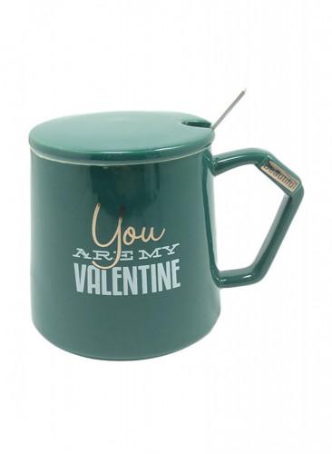 كوب سيراميك للقهوة و الشاي مع ملعقة  و غطاء مقاس 13 × 10 × 10 سم