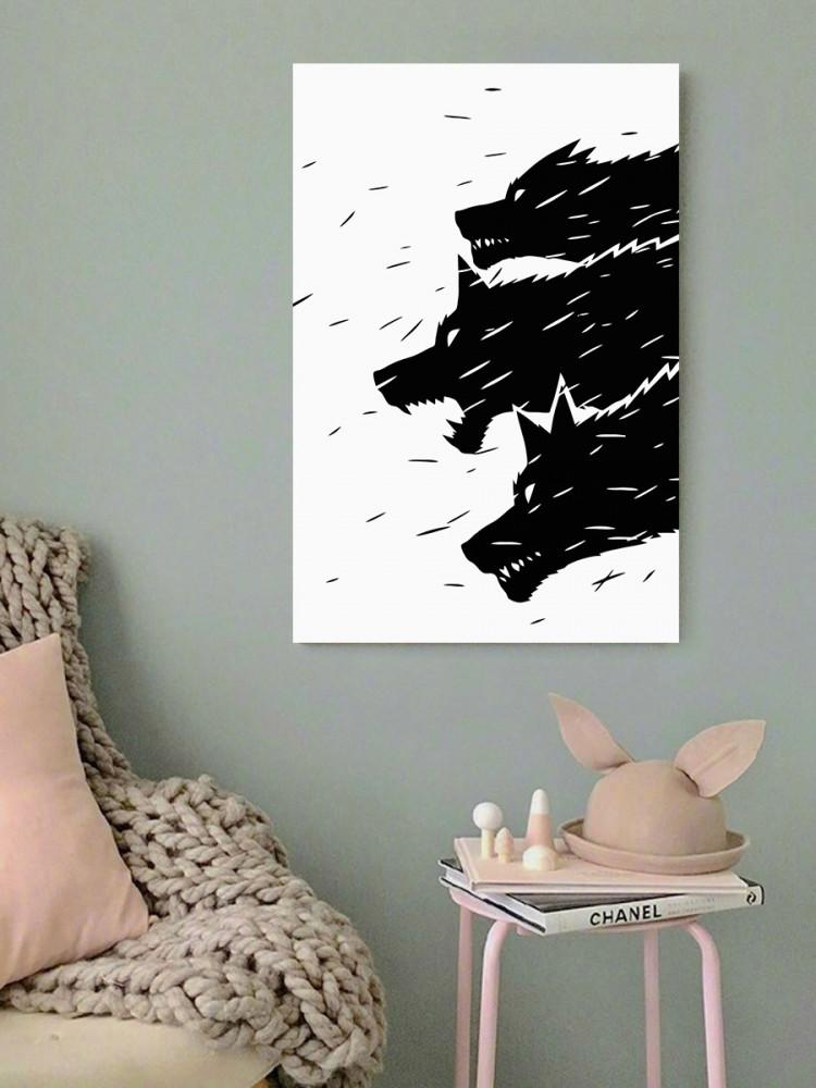 لوحة الذئاب أبيض و أسود خشب ام دي اف مقاس 40x60 سنتيمتر