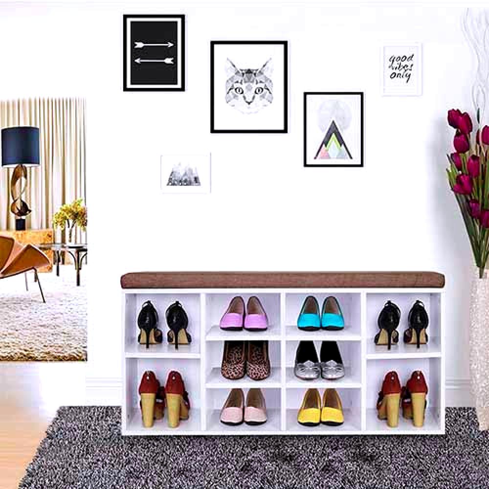 دولاب منظم جزامة أحذية خشب لون أبيض بمقعد فاخر بتصميم مودرن عصري