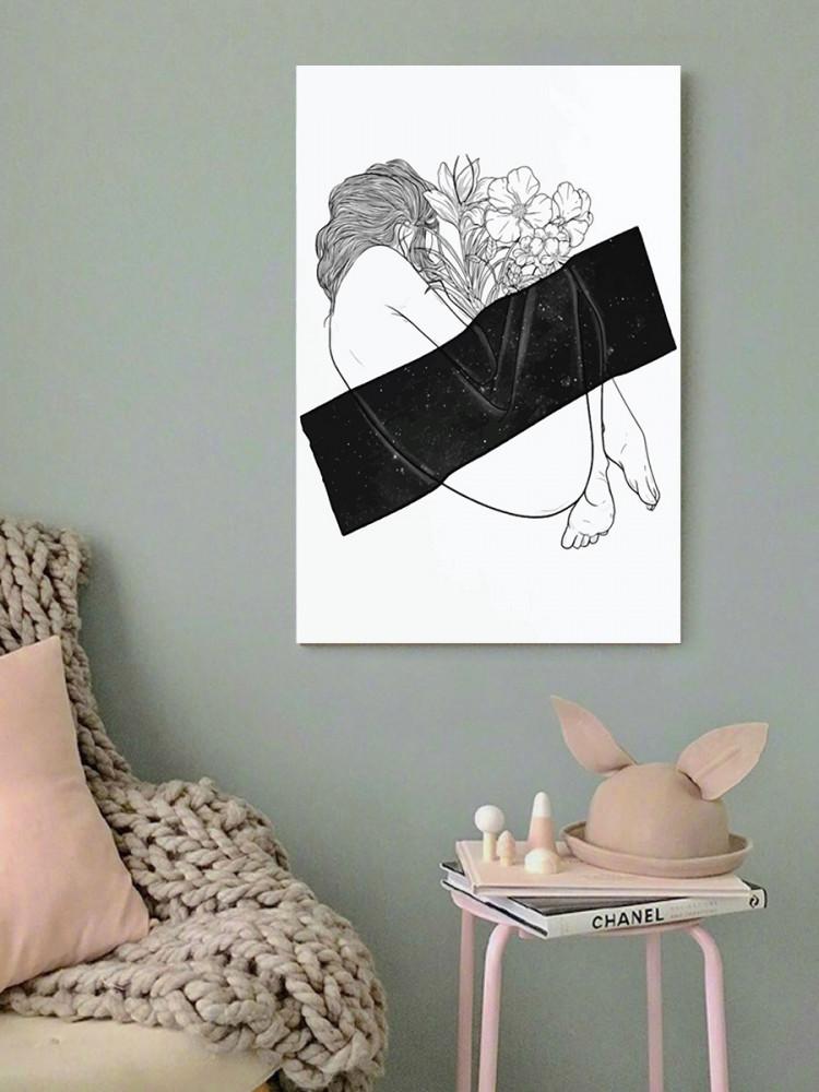 لوحة المرأة و الورود خشب ام دي اف مقاس 40x60 سنتيمتر